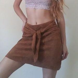 Dresses & Skirts - ❤Faux Suede Brown Mini Skirt